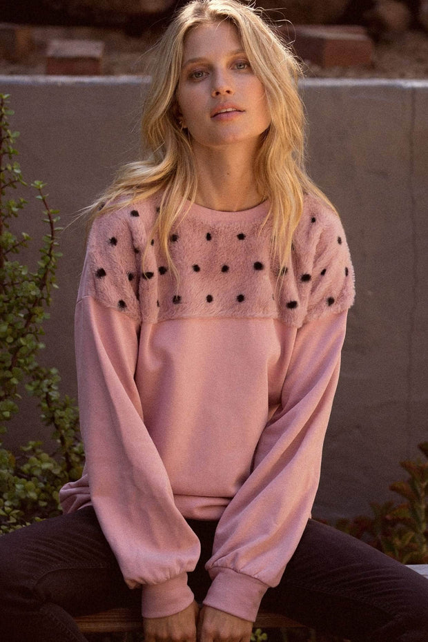 Cuddle Bug Polka Dot Fur-Trimmed Sweatshirt - ShopPromesa