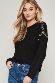 Stitch in Time Embroidered Brushed Knit Top - ShopPromesa