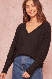 Think Peace Brushed Knit V-Neck Doman Top - ShopPromesa