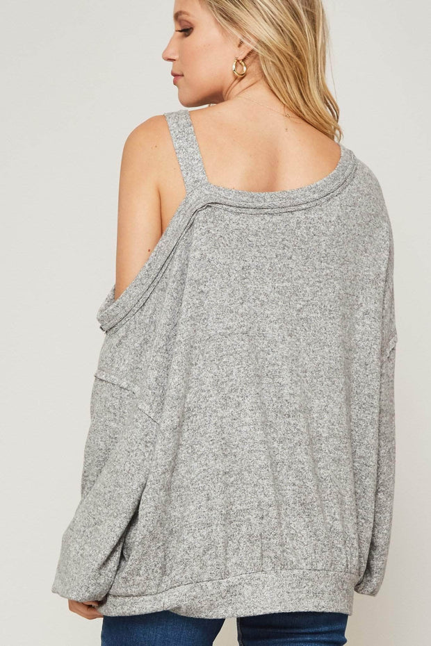 Brush it Off Cutout Shoulder Brushed Knit Top - ShopPromesa