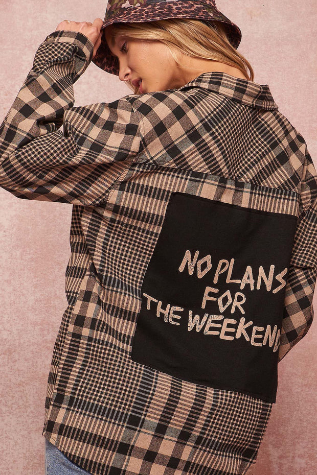 Weekend Plans Graphic-Back Oversize Plaid Shirt - ShopPromesa