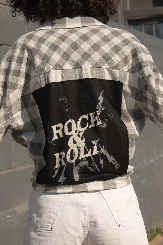Rock & Roll Graphic-Back Plaid Shirt