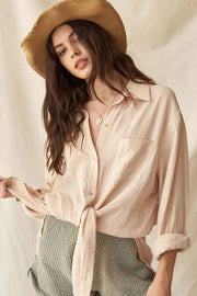 Let Loose Oversized Crinkle Cotton Pocket Shirt