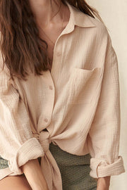 Let Loose Oversized Crinkle Cotton Pocket Shirt - ShopPromesa