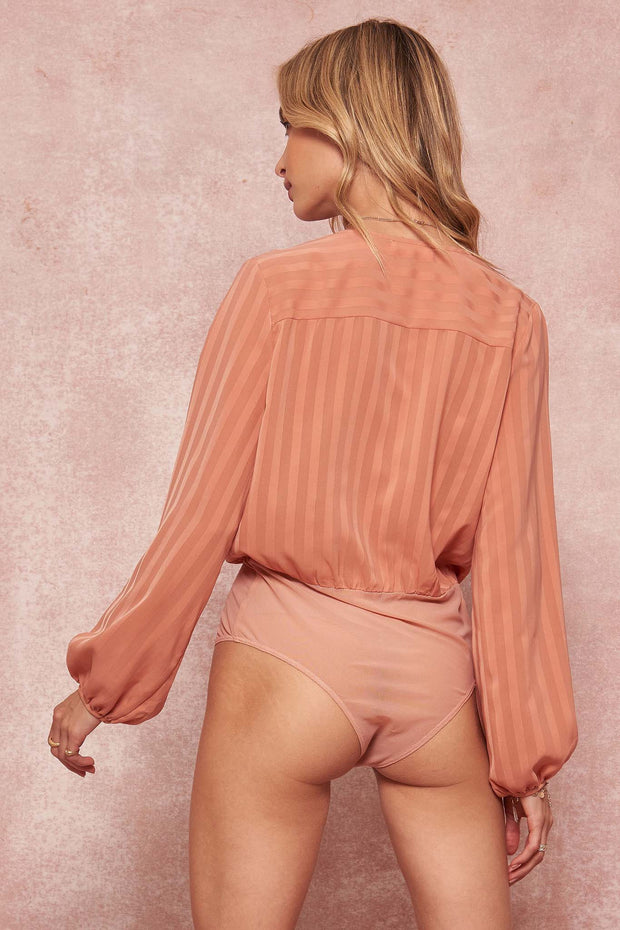 True Aesthetic Satin Stripe Surplice Bodysuit - ShopPromesa