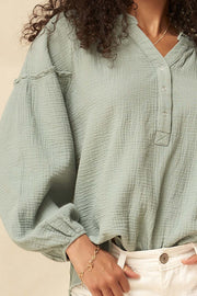 With Love Crinkle Cotton Bubble-Sleeve Henley Top - ShopPromesa