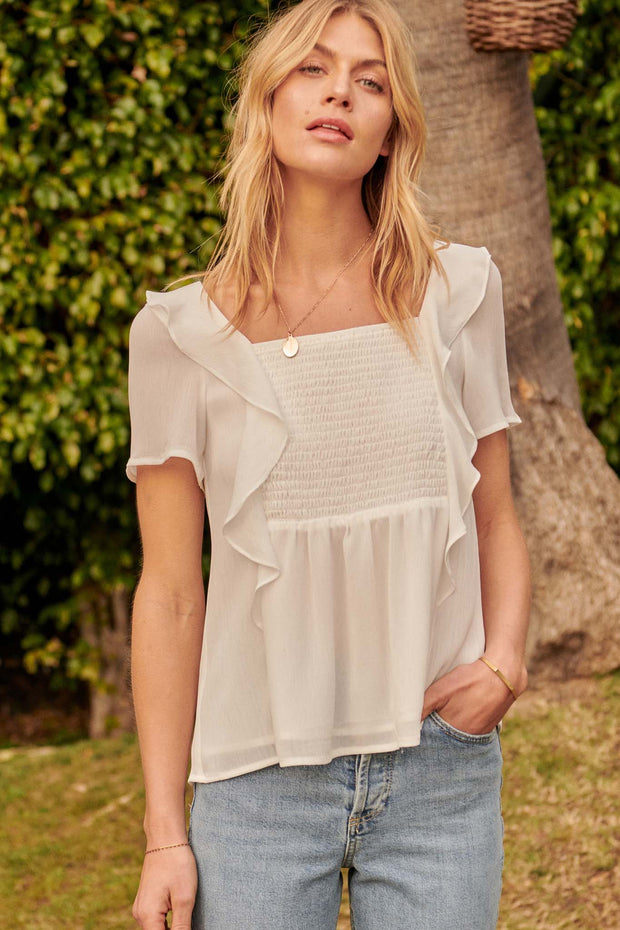 Hopeless Romantic Ruffled Chiffon Smocked Top - ShopPromesa