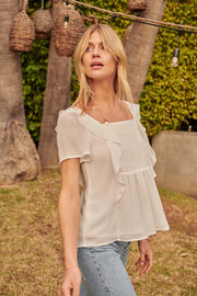 Hopeless Romantic Ruffled Chiffon Smocked Top