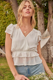 Call Me Darling Ruffled Chiffon Surplice Top - ShopPromesa