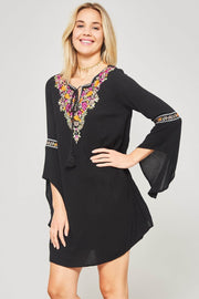 Flower Child Embroidered Bell-Sleeve Peasant Dress - ShopPromesa