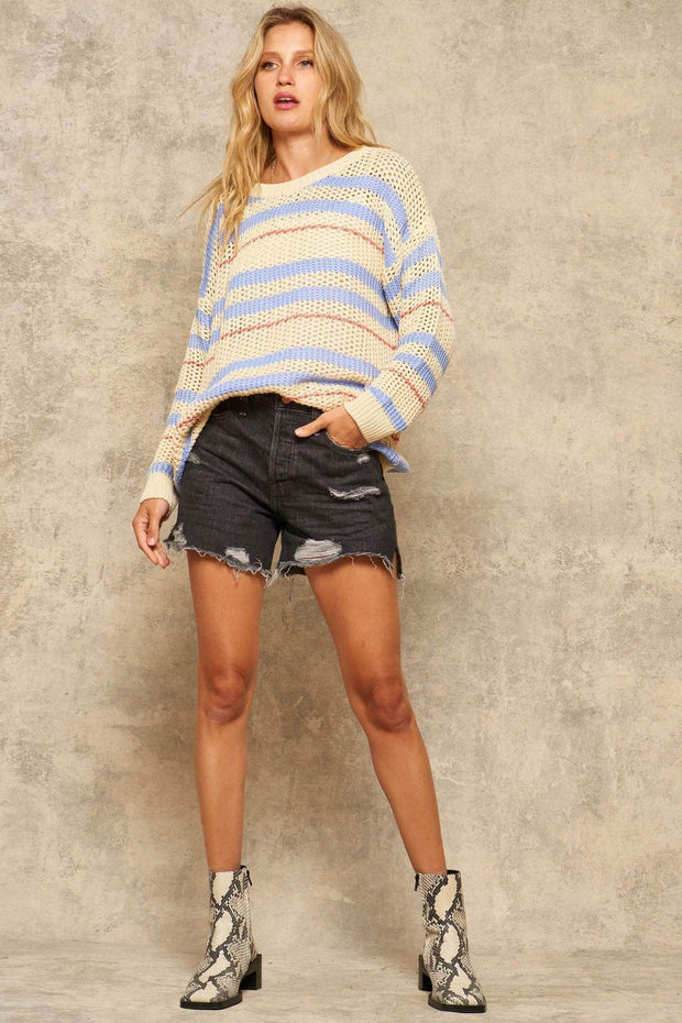 Sweater Believe It Striped Crochet Sweater