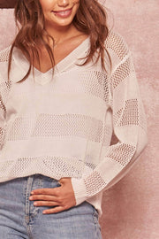 Perfect Catch Striped V-Neck Fishnet Sweater