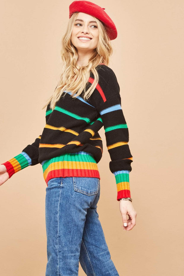 Prism Perfect Rainbow Striped Oversize Sweater