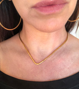 Gold Hammered Sharkbite Torque Necklace