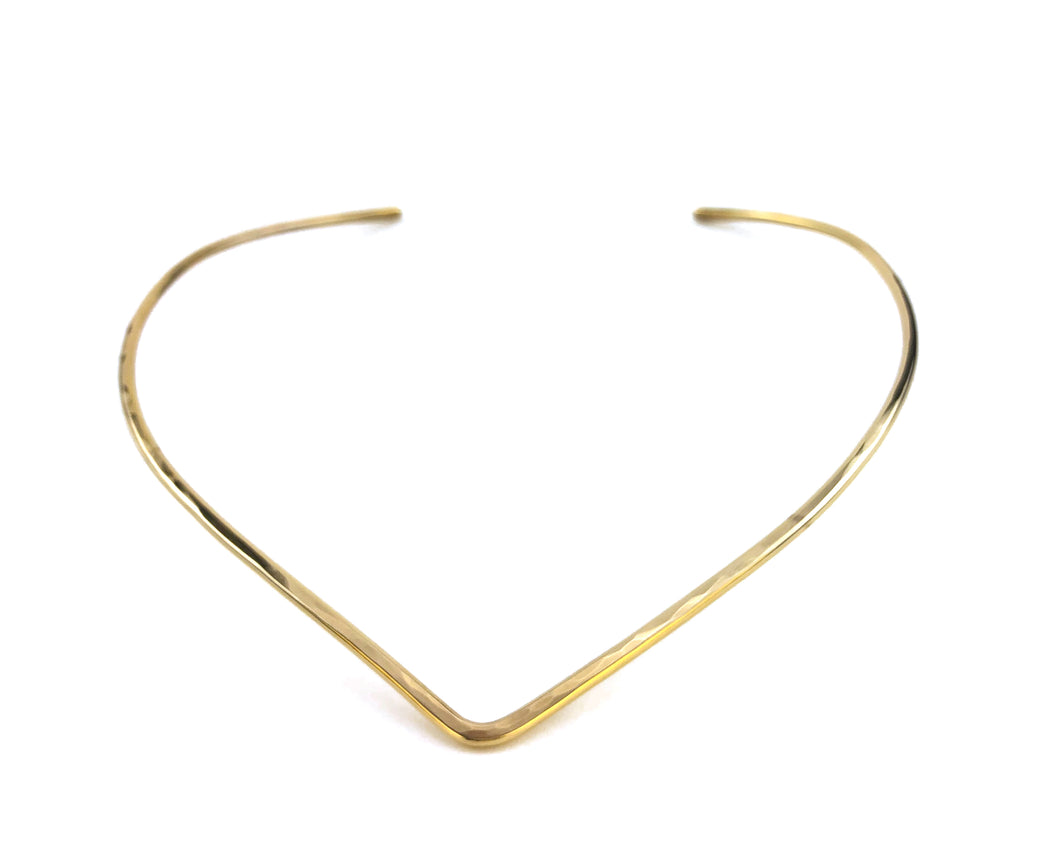 Gold Hammered V Torque Necklace