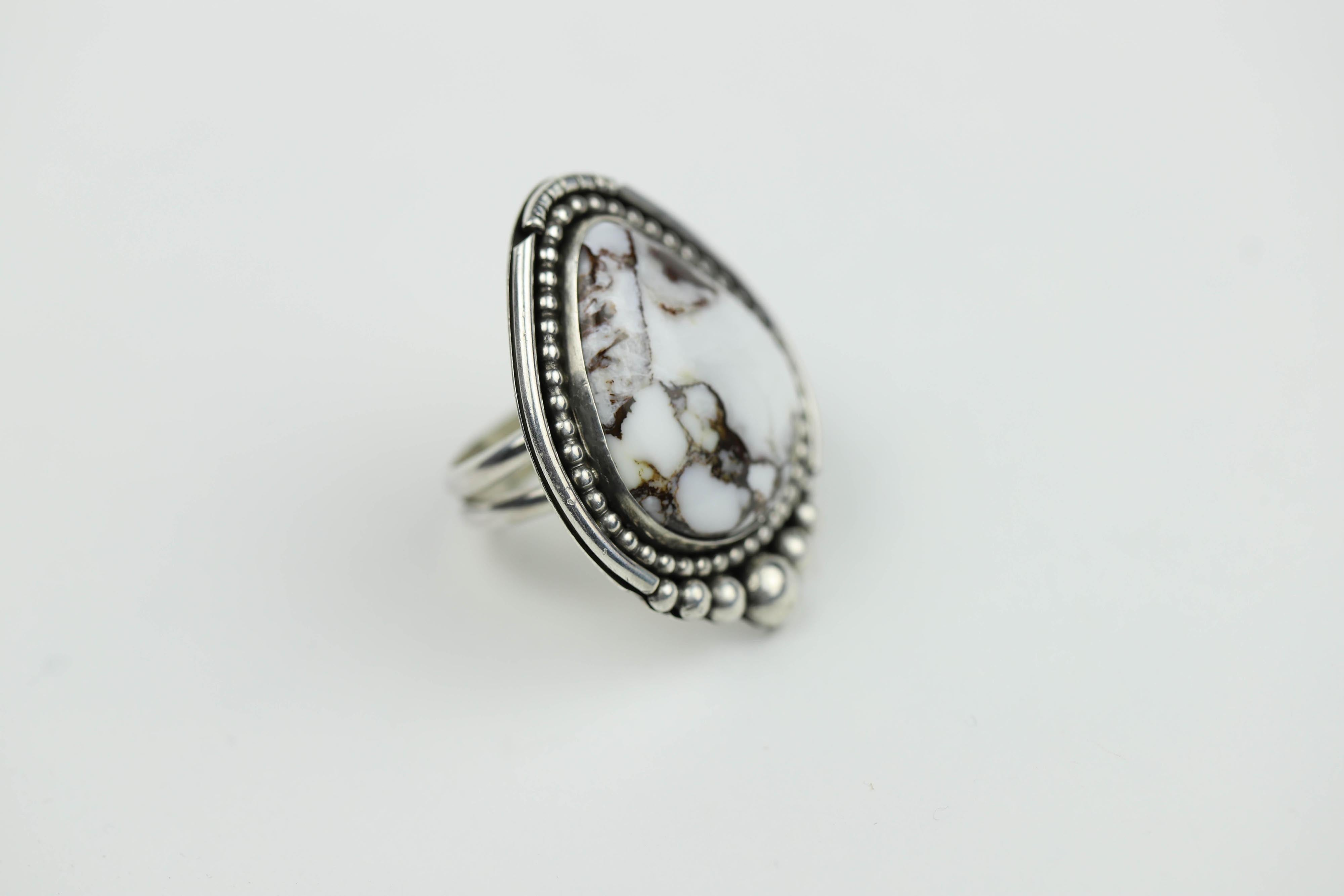 White Buffalo Turquoise Ring #3
