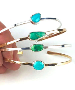 Turquoise and 14K Gold Filled Stacking Cuffs