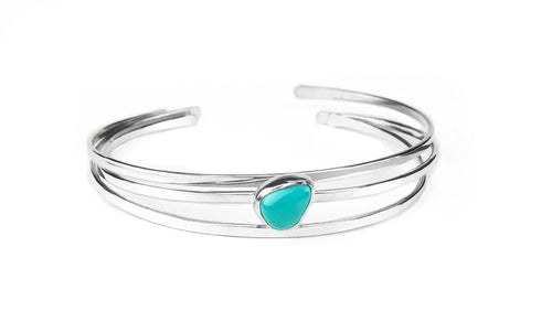 Turquoise and Sterling Silver Stacking Cuffs