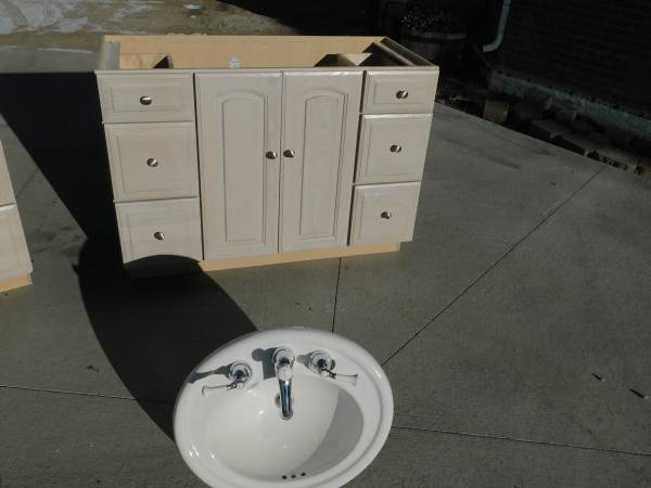Semi-Custom Whitewashed Vanity w/ Dovetailed Drawers!