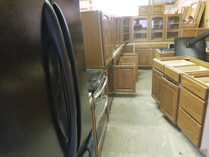 Dark Stained Oak Kitchen Cabinets w/ Plywood Drawers + Rollout Trays!