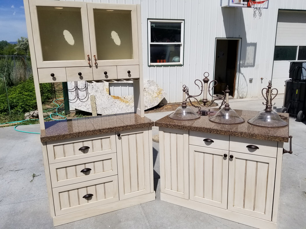 Matching Custom Antiqued Island/Buffet w/ Granite & Lighting!-$550