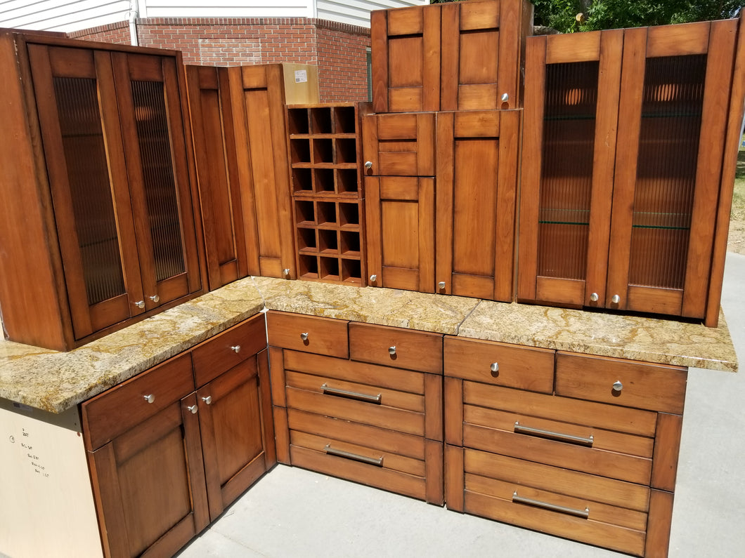 Mission Style Distressed Glazed Showroom Cabinets w/ Slab Granite and Pullouts