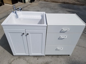 SMALL LAUNDRY BEADED SINK BASE & WHITE SINK + DRAWER BASE!