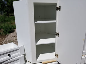 White Cabinet Set w/ Silver Hardware
