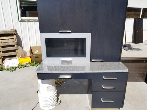 Black Desk Set w/ Large Silver Handles & Lift-up Doors