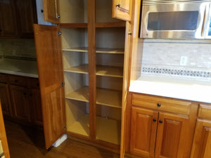 Gigantic Raised Panel Cherry Kitchen W/ SS Appliances, Island, and White Countertops