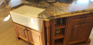 High End Crestwood Maple Kitchen Cabinetry and Walnut Island with Oil Rubbed Bronze Hardware and Volcano Satin Granite Countertops