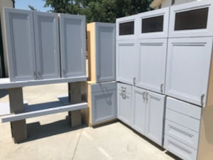 Gray Showroom Kitchen Cabinets w/ Softclose Drawers and Trash Pullout