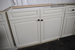 Kitchen-Craft Frame-less White Laminate Laundry Room Cabinets with Black Harware