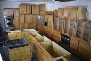 Massive Shaker Natural Birch Kitchen w/ SS Appliances, Huge Paneled Fridge, and Tops