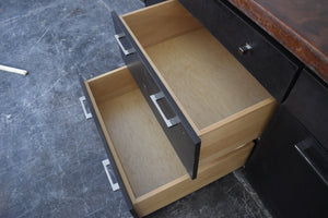 Showroom Frameless Display w/ Concrete Countertop & Soft-close Dovetailed Drawers and Rollout Trays