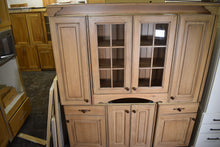 Distressed Vanity With Dovetailed Drawers and Glass Doors with Mullions
