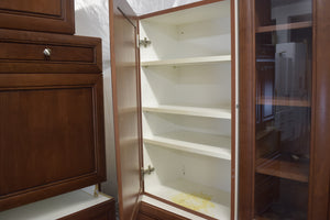 Large Frameless Cherry Kitchen Cabinet Set w/ Glass Doors
