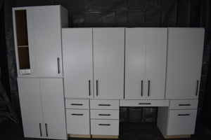 Showroom Modern White Office Kitchen Cabinet Set w/ Soft-close Dovetailed Drawers