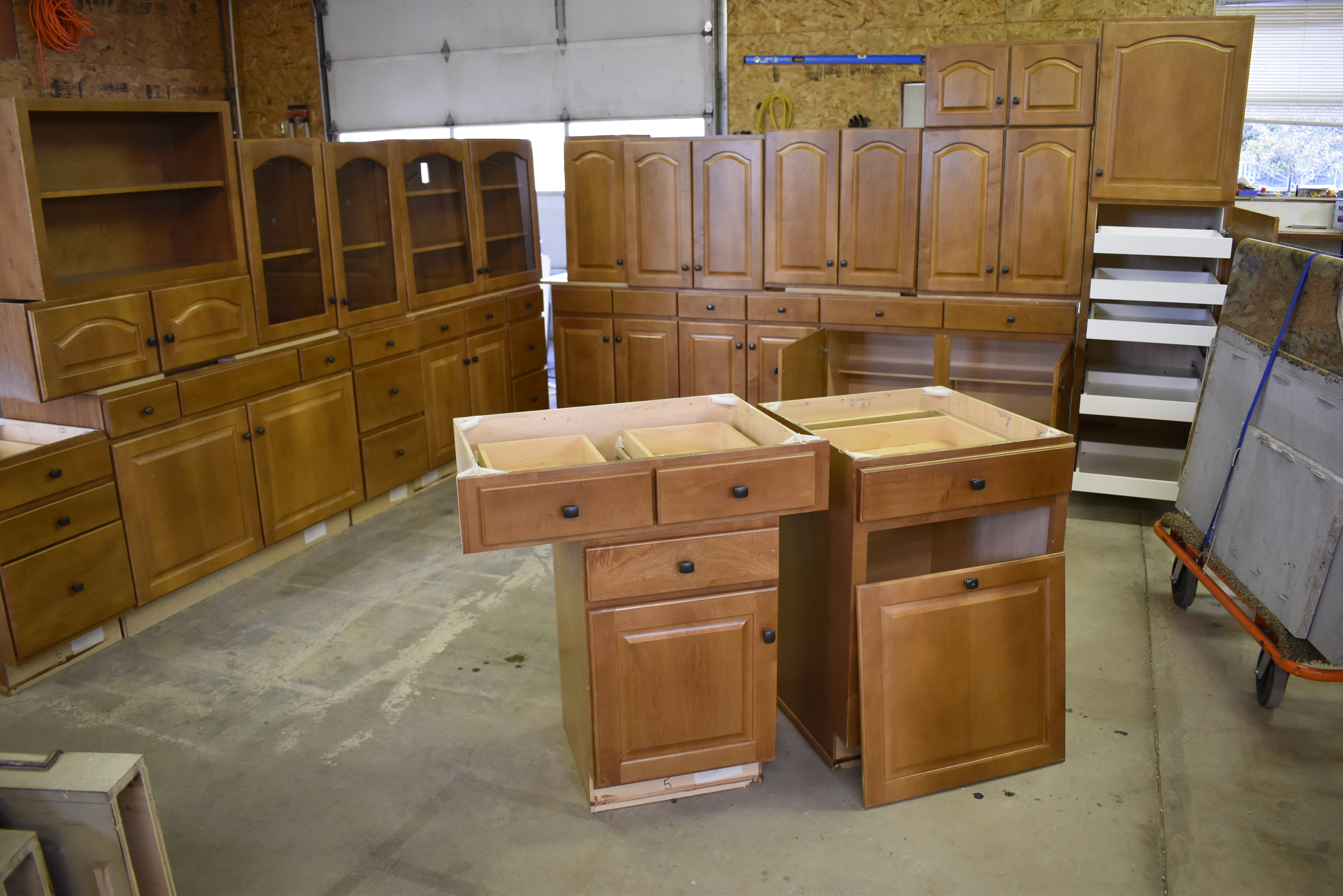 Large raised panel kitchen cabinet set w rollout trays and glass doors