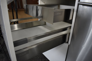 Showroom Frameless White Laminate Kitchen Cabinet Set w/ Metal Rollout Trays