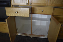 Gigantic Natural Oak Kitchen Cabinet Set w/ Glass Doors