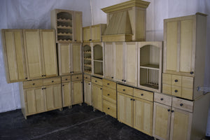 Frameless Maple Kitchen Cabinet Set w/ Dark Knobs and Open-Faced Uppers