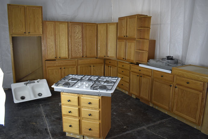 Oak Kitchen Cabinet Set w/ Double Oven Cabinet and Extra Tall Wall Cabinets