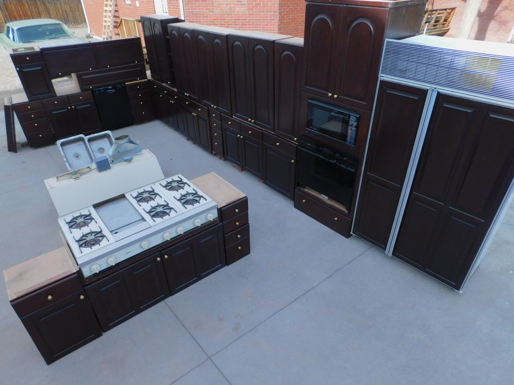 Gigantic Dark Cherry Kitchen w/ Dovetailed Drawers and Viking/ Subzero Appliances