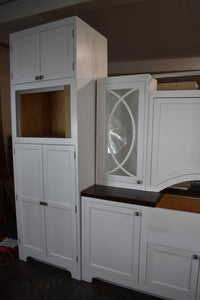 Showroom Inset White Kitchen Cabinet Set w/ Pantry Rollout Trays and Glass Doors