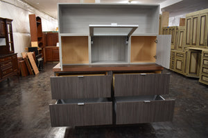 Euro Style Soft-close Showroom Cabinet Display w/ Lift-Up Door and Frameless Design