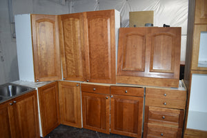 Raised Panel Cherry Kitchen Cabinet Set w/ Rollout Trays