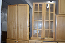 Frameless Maple Kitchen Cabinet Set w/ Rollout Trays and Glass Doors