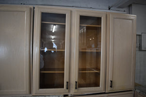 Glazed Cream Oak Kitchen Cabinet Set w/ Rollout Trays and Glass Doors