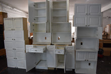 Frameless White Apartment Cabinet Set w/ Silver Hardware